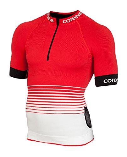 coreevo - Camiseta JUMMPER Trail Running Manga Corta, Rojo/Blanco, XL