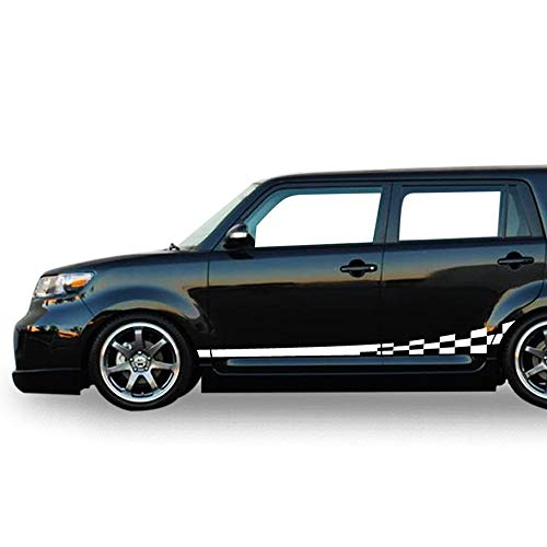 Bubbles Designs Decal Sticker Racing Wavy Flag Stripes Compatible for Toyota Scion xB 2007-2015 (White)