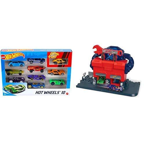 Hot Wheels Pack de 10 vehículos, Coches de Juguete + City Garaje del Gorila furioso, Pistas de Coches de Juguete