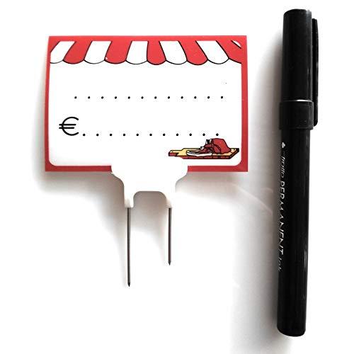 Fimel Segnaprezzo per macelleria.La Confezione Contiene 30 cartellini segnaprezzo, 30 spilli a Doppia Punta in Acciaio e PLA