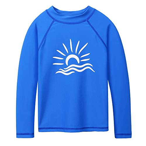 TFJH E Boys Long Sleeve Swim Shirt UPF 50+ Rash Guard Sun Shirt Beachwear Size 6-7, Royal Blue 8A