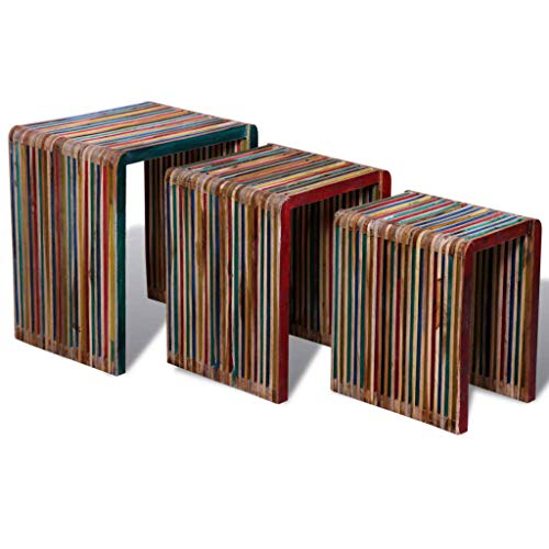 vidaXL Set of 3 Wood Nesting Tables Colourful Reclaimed Teak Timeless Multicolour