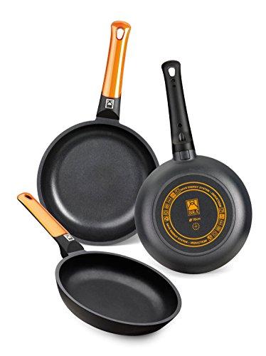 BRA Efficient Orange - Set de 3 sartenes (20-24-28 cm, aluminio fundido con antiadherente Platinum Plus, aptas para inducción)