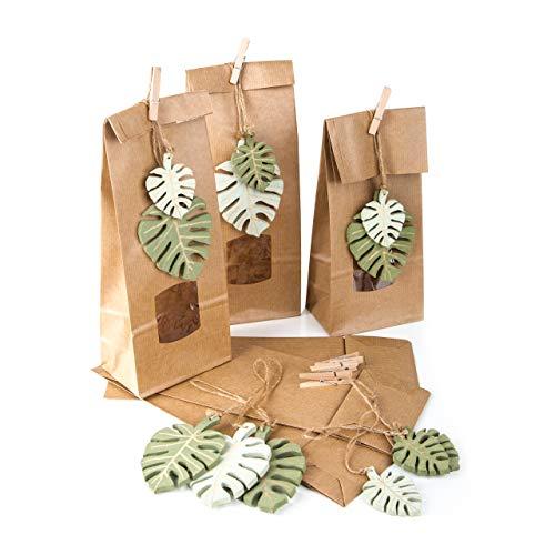 Logbuch-Verlag Lot de 6 Petits sachets en Papier avec fenêtre 10,5 x 6,5 x 29 cm Motif Feuilles biologiques Marron Naturel Vert pour Aliments surgelés Popkorn Give-Away