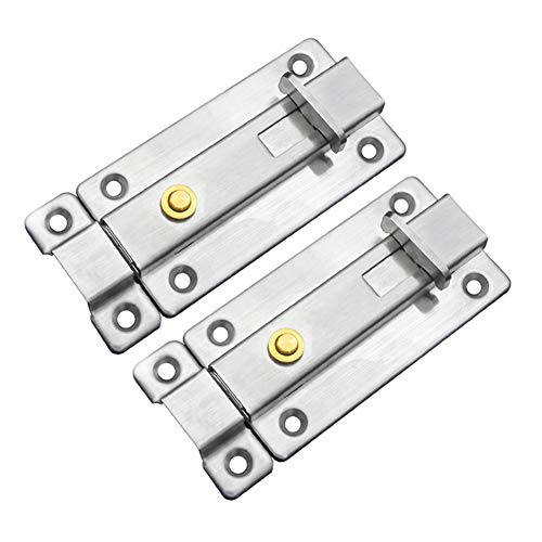PlayJuly 2PCS Auto Slide Bolt Bathroom Toilet Shed Door Lock Catch Latch Stainless Steel, Style 2