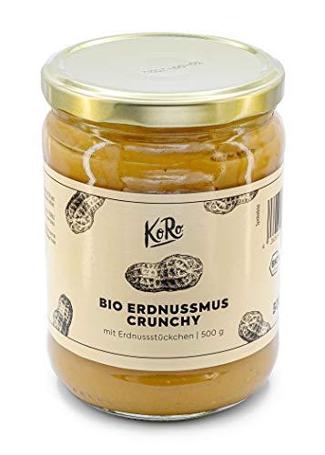 KoRo - Crema di arachidi crunchy bio 500 g - burro di arachidi croccante biologico, 100% arachidi, senza zucchero e senza olio, crema proteica senza glutine