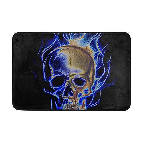 Alfombras de área Felpudos Skull Blue Fire Cool Dark Floor Mat Alfombra Antideslizante 23.6x15.7 Pulgadas para Sala de Estar Hogar Dormitorio Decorativo