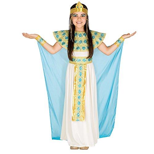 dressforfun 900050 - Disfraz de Niña Cleopatra, Vestido de Jersey, Chifón y Organza, Incluye Adornos para el Pelo y Muñeca (8-10 años | No. 300187)