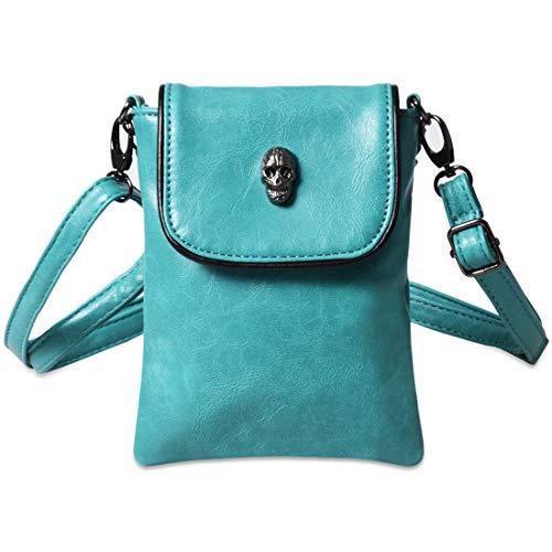 Witery, borsa portafoglio a tracolla da donna, con borchia a forma di teschio, con tasca per telefono, banconote, carte di credito, monete, Green (Verde) - CLOA0016-04