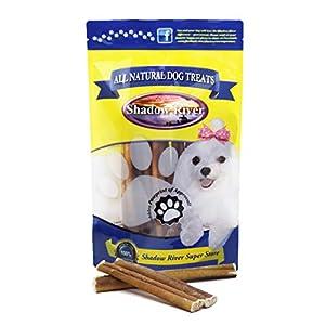 Shadow River Regular 6 Inch 100% Beef Bully Sticks for Medium Dogs – Grass Fed Grain Free Long Lasting Chew Treats – Pack of 25 Sticks