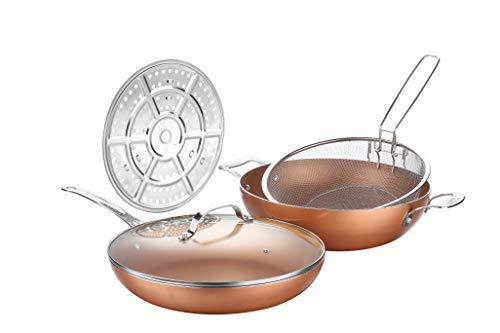 Set di padelle e wok grandi con rivestimento antiaderente in rame, pentole con coperchio, cestello per friggere e piroscafo, cottura a induzione, lavabile in lavastoviglie