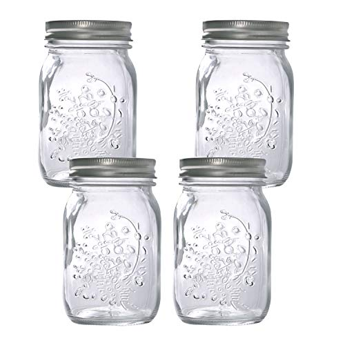 Hovico Mason Jars 17 oz With Regular Lids and Bands, Ideal for Jam,Dishwasher Safe Mason Jar for Fermenting, Kombucha, Kefir, Storing and Canning Uses, Clear- Set of 4