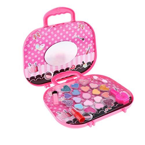 SM SunniMix Juego de Maquillaje Real Lavable para Niños Play Pretend Play con Organizador en Forma de Maleta