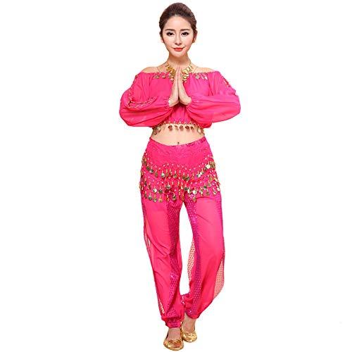 Damen Bauchtanz Kostüm Set Sexy Bollywood Kostüme Chiffon Hose Tops Piebo Lange Ärmel Oberteil Hosen Belly Dance Tanz Darbietungen Frauenkostüm Arabische Prinzessin Karneval Kostüm