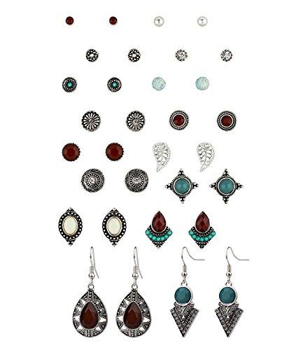 SIX 16er Set Ohrstecker: 14 Ohrstecker und 2 Ohrhänger [Geschenk Idee für Frauen] – türkis, silber, rot » Vintage – verschiedene Motive » Ohrschmuck « Schmuck - Stahl (702-262)