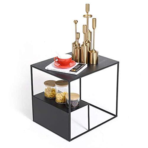 Mesa de cama, Mesas de centro de hierro forjado cuadrado, mesa de...