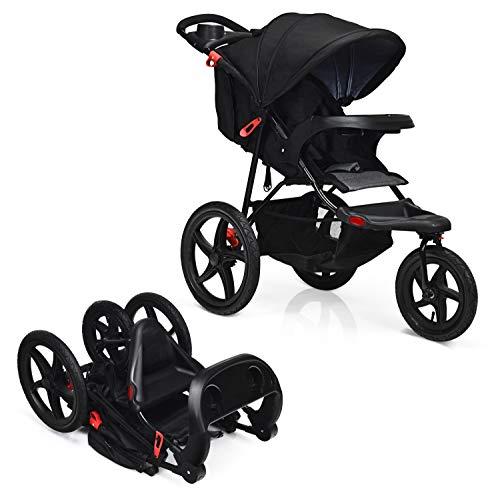 GOPLUS 3 Ruote Passeggino Pieghevole per Bambini, Passeggino Multifunzione e Confortevole, Nero/Grigio, 107x107x56 cm (NERO)