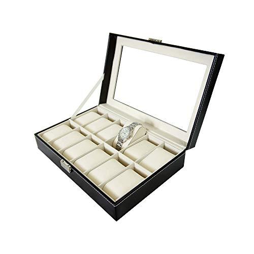 Todeco - Porta Prologi, Porta Bracciali - Dimensione: 30 x 20 x 8 cm - Materiale della Scatola: MDF - 12 Orologi ed espositore, Nero/Beige