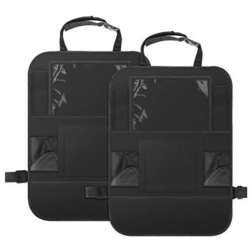Auto Rückenlehnenschutz Kinder, KNMY 2 Stück Groß Auto Rücksitz Organizer mit Touch Screen Ipad Tablet Halter und Große Taschen, Kick-Matten-Schutz für Autositz
