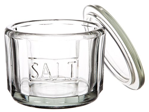 Classic Casual Country Round Glass Salt Cellar with Lid, Sugar Bowl Herb Storage Organization Canister Spice Jar, Clear Pressed Glass, Medium, 4-inch, 12 oz