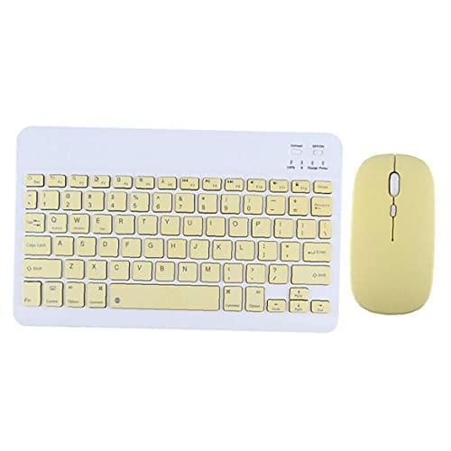 Funda almohadilla de teclado inalámbrico Conjunto de ratón Tableta Tableta Slim Mini Recargable Teclado Amarillo 2pcs