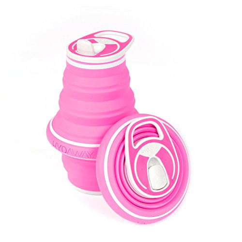 HYDAWAY New Collapsible Pocket-Sized Travel Water Bottle - 21 oz, Rose