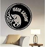 UYEDSR Stickers Muraux Salon de Coiffure Logo Vinyle Autocollant Salon de Coiffure barbier Miroir fenêtre décoration Coiffure Coupe de Cheveux Salon de Coiffure décoration 57x57cm