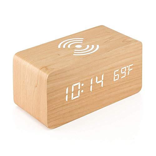 EUPEFIST Altavoz Bluetooth, con Relojes De Alarma 10W Humedad Cargador Inalámbrico 3 Modo De Día De Trabajo Atenuado para Varios Teléfonos Inteligentes