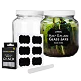 64 Oz Glass Jar with Plastic Airtight Lid (2 Pack) - Includes 6 Chalkboard Labels & 12 Pieces of...