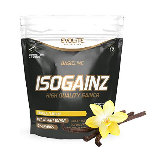 Evolite IsoGainz - Mass Gainer - 1 confezione x 1000g - 3 tipi di proteine del siero di latte - Con aggiunta di maltodestrina (Vaniglia)