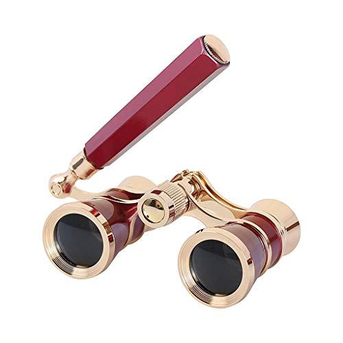 Opera Gafas de lupa para teatro, carreras de caballo, minigafas de estilo vintage, telescopio, con mango, para mujer, elegante, multifunción, kit de accesorios, color rojo app.9x3x5cm