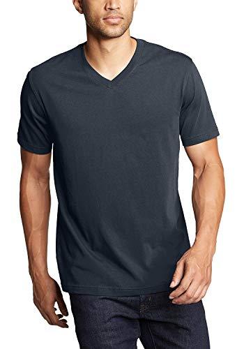 Eddie Bauer Herren Basic Legend Wash Pro Shirt - Kurzarm mit V-Ausschnitt T-Shirt Uni Mitternachtsnavy XL aus Baumwolle