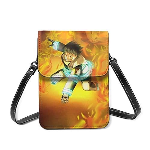 XCNGG Kleine Geldbörse Anime Fire Force Enen No Shouboutai Cell Phone Purse Small Crossbody Bag Women Leather Mini Cell Phone Pouch Shoulder Bag to Carry Dexterous Convenience with Adjustable Strap Wa