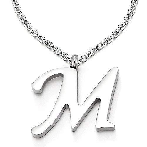 COOLSTEELANDBEYOND Nome Iniziale Lettera di Alfabeto M Ciondolo, Collana con Pendente Croce da Donna Uomo, Acciaio, 50cm Corda Catena