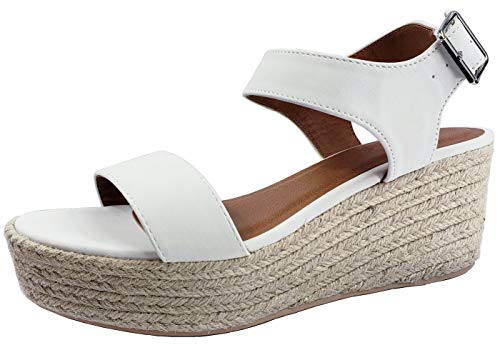 City Classified Womens Wedge Espadrilles Jute Rope Trim Ankle Strap Open Toe Sandals, White, 7
