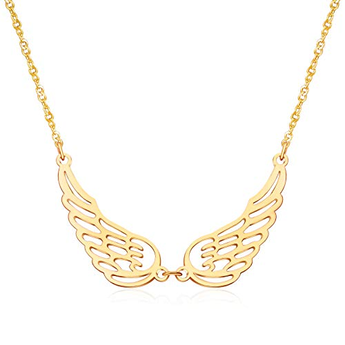 Gold Plated Choker Necklace Dainty Chain Necklace, Simple Pendant Necklace Guardian Angels Wings Jewelry For Woman Girls Gifts