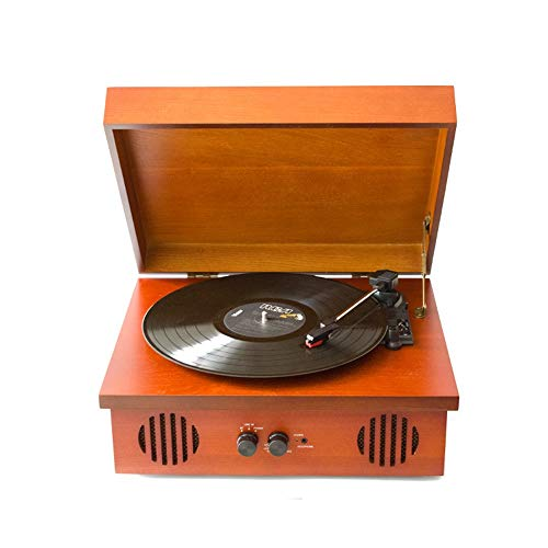 Mädel Vintage Braun Vinylschallplatte Maschine Das Auftreten Von Massivholz-Box Dreieckigem Aluminiumtube Bewegung RubinAufnahmeFunktion PH / INT / BT Bluetooth Stereo Schallplatte Spieler, Tragbare A