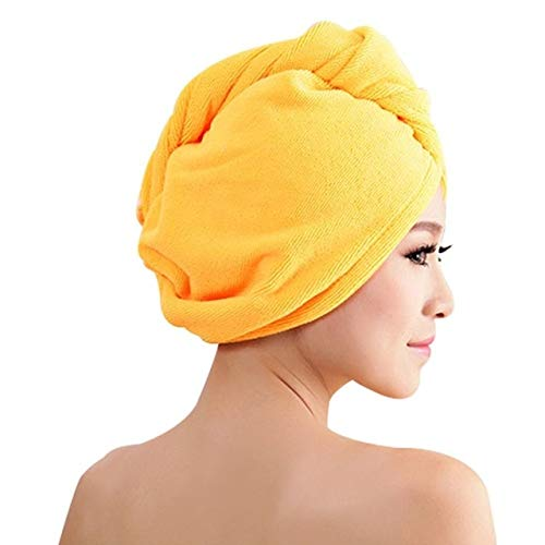 Purple Coral Velvet Dry Hair Bath Towel Microfiber Quick Drying Turban Super Absorbent Women Hair Cap Wrap with Button Thicken - 02,F6