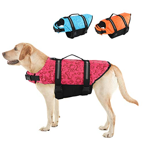 EMUST Dog Life Jackets, Dog Life Vests for Swimming, Beach Boating with High Buoyancy, Dog Flotation Vest for Small/Medium/Large Dogs, Red Bones, S
