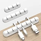 Cord Organizer, Cable Organizer White Cord Holder, Wire Organizer USB Cable Management Cord Keeper, 3 Packs Cable Clips for Car Home and Office (7, 5, 3 Slots)