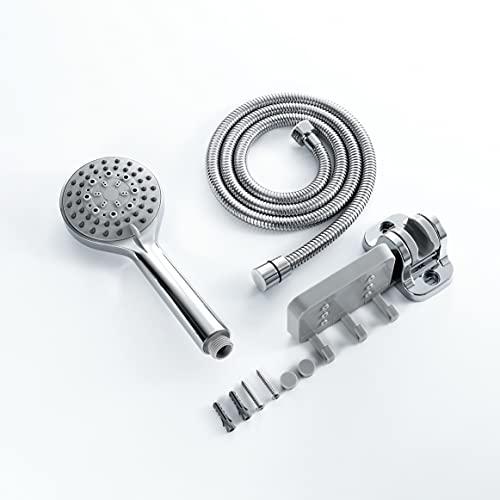 Cabeza de ducha, cabezal de ducha desmontable, cabezal de ducha de alta presión para baño de 5 configuraciones de 5,5 ', cara de cromo, accesorios de baño, manguera de 59 pulgadas / soporte / bandeja