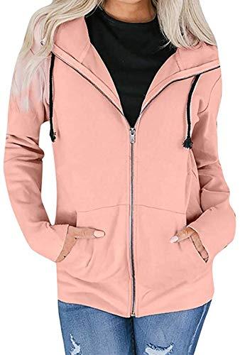Women Long Sleeve Zipper Sweatshirt Coat Outwear Hooded Jacket Overcoat