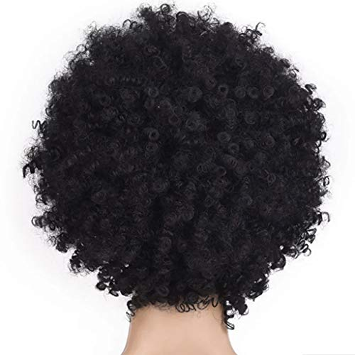 2019 Best Gift!!!Cathy Clara Black Synthetic Curly Wigs for Women Short Afro Wig African American Natural Women Human Natural Hair Replacement Hair Wig