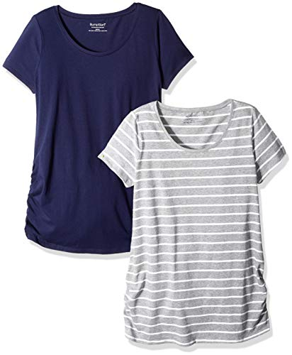 Motherhood Maternity Women's Maternity BumpStart 2 Pack Short Sleeve Tee Shirts, Navy/Grey/White Stripe, Large