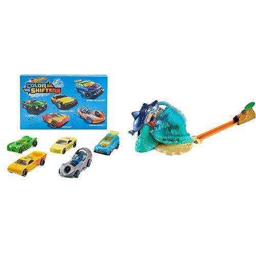 Hot Wheels Shifters Pack de 5 Coches Que cambian de Color + Tiburón Megadestrucción, Pista de Coches de Juguete