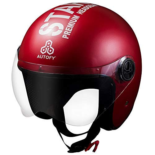Autofy TROUPER Open Face Helmet (58cm - M, Red)