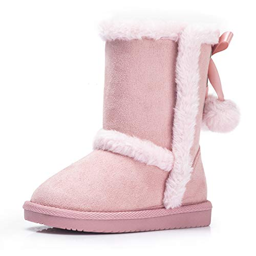 KRABOR Girls Winter Snow Boots, Warm Faux Fur Lined with Cute Pom-Poms for Toddler/Little Kid Pink Size 9