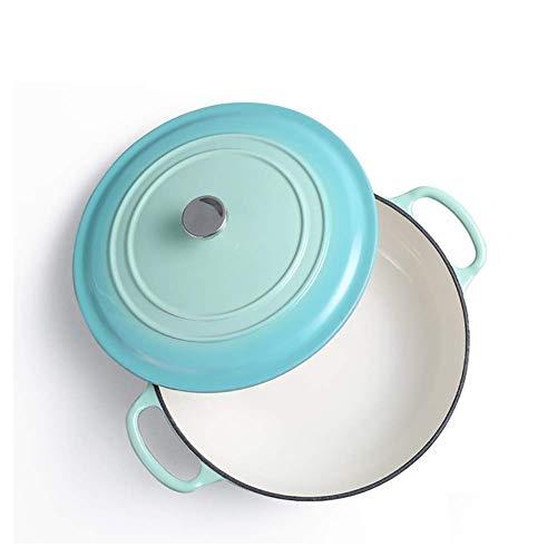 Olla de cocción de cerámica Platos para cazuela con Tapa Cacerola Poco Profunda de Hierro Fundido con Tapa Olla para Sopa Vajilla Recubrimiento de Esmalte Resistente, Cocina de inducción Estufa de g