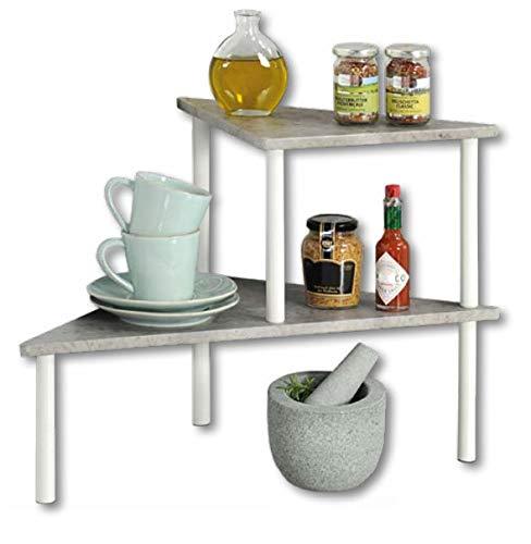 KESPER 27812 Küchenregal mit 2 Ebenen, Beton-Optik, weiß/Etagenregal/Eckregal/Regal
