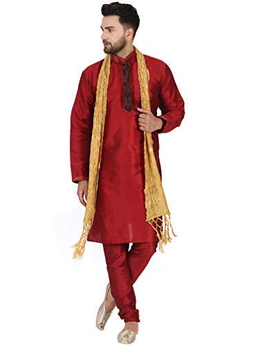 SKAVIJ SKAVIJ Herren Tunika Kurta Pyjama und Stola Partykleid (Rot, XL)